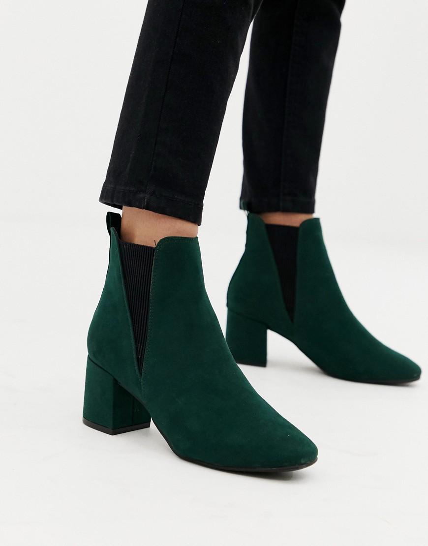New Look | Темно-зеленые ботинки челси на блочном каблуке для широкой стопы New Look - Зеленый | Clouty