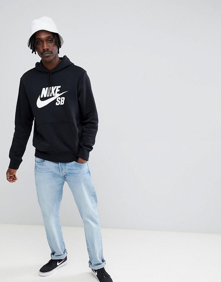 NIKE SB | Худи черного цвета Nike SB Icon AJ9733-010 - Черный | Clouty