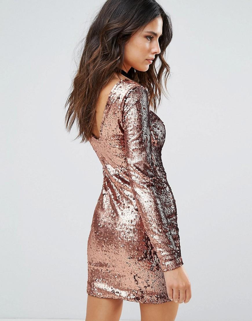 Motel | Платье с пайетками Motel Gabby - Медный | Clouty