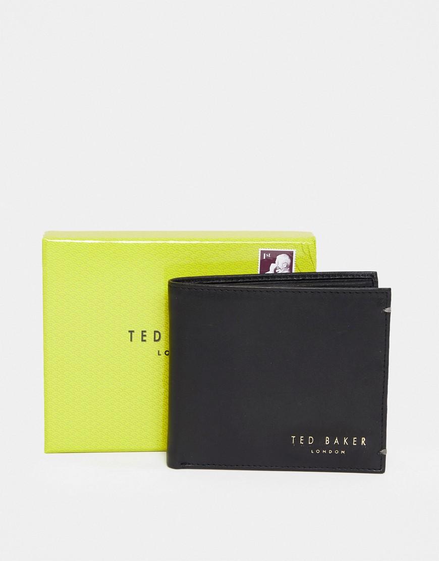 Ted Baker | Кожаный складной бумажник с отделением для монет Ted Baker Harvys - Черный | Clouty