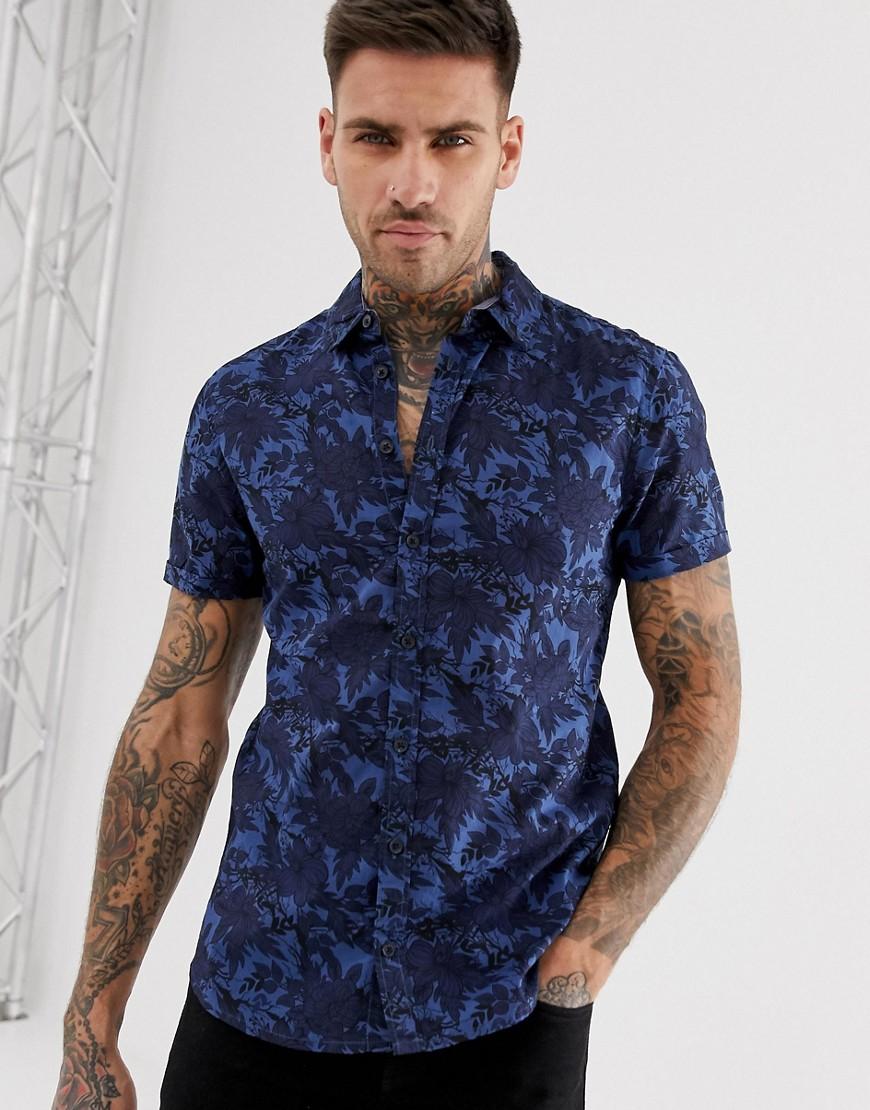 Blend | Синяя рубашка с короткими рукавами и цветочным принтом Blend - Темно-синий | Clouty