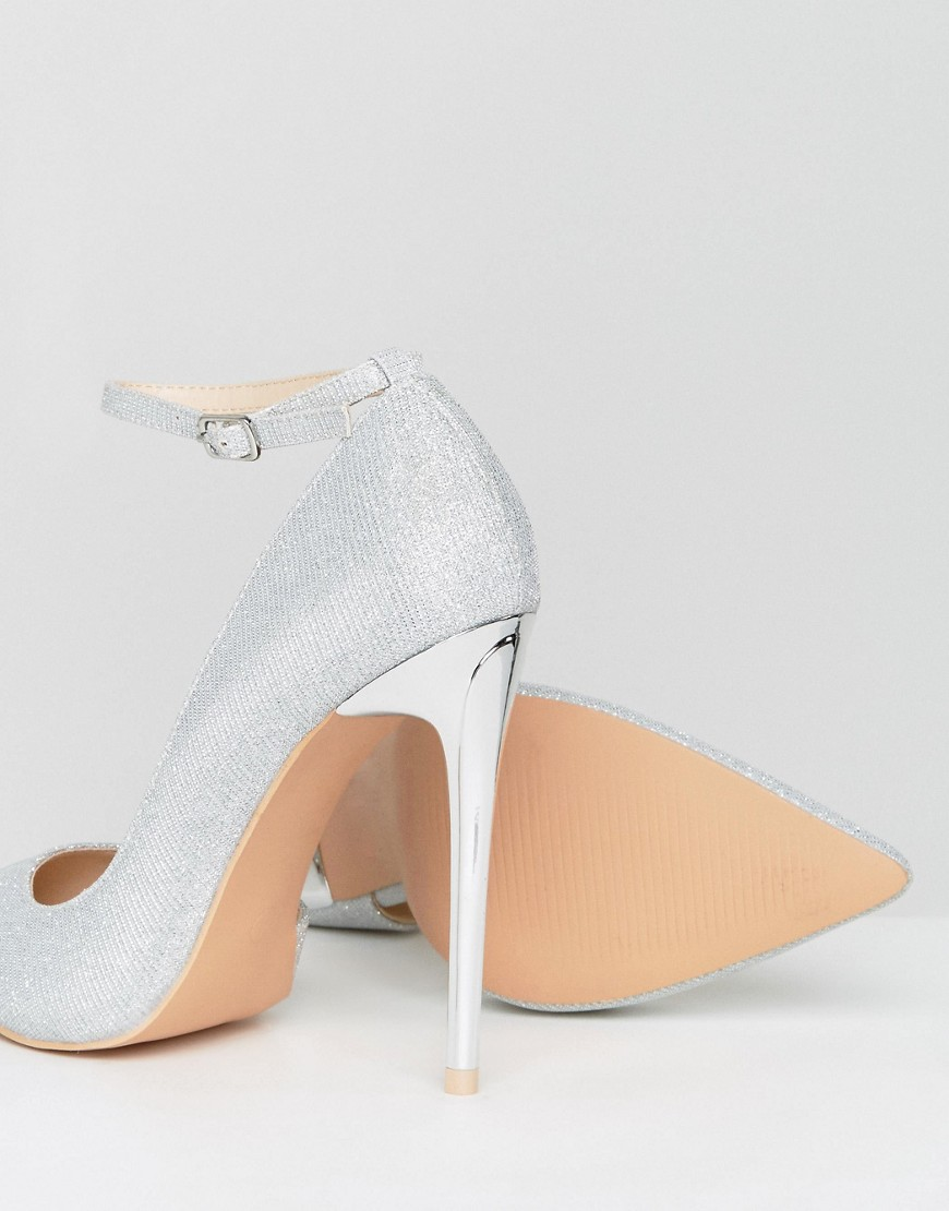 Glamorous | Серебряный Серебристые туфли-лодочки на каблуке с ремешками Glamorous | Clouty