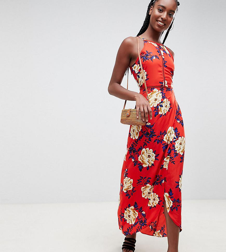 Influence | Платье макси с цветочным принтом Influence Tall - Красный | Clouty