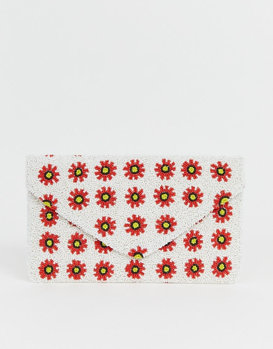 Clutch Me By Q   Клатч с выполненной вручную цветочной отделкой из бисера Clutch Me By Q - Белый   Clouty