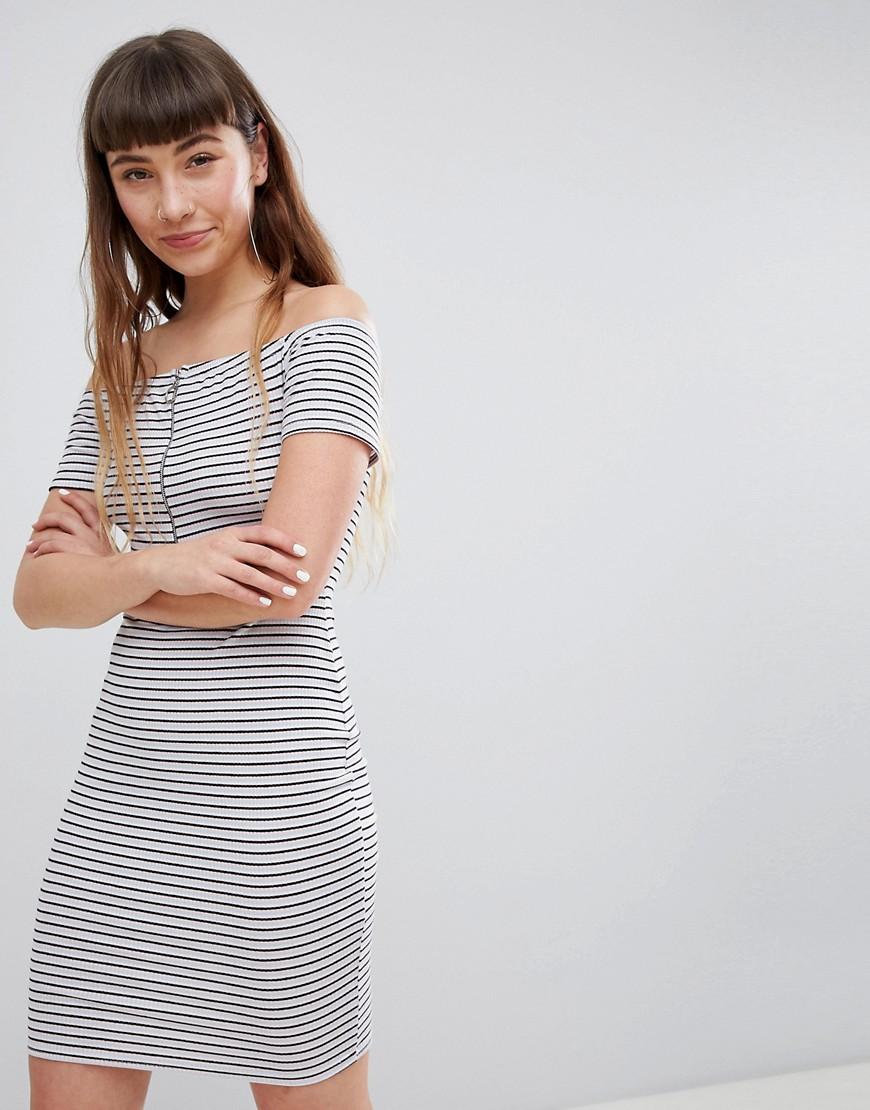 Daisy Street | Платье мини в полоску с открытыми плечами и молнией Daisy Street - Мульти | Clouty