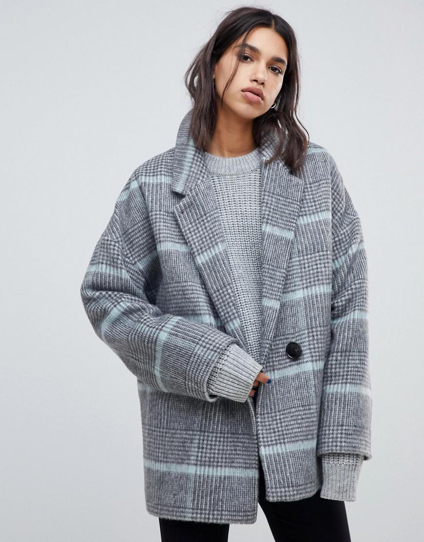 AllSaints | Пальто в клетку AllSaints - Серый | Clouty