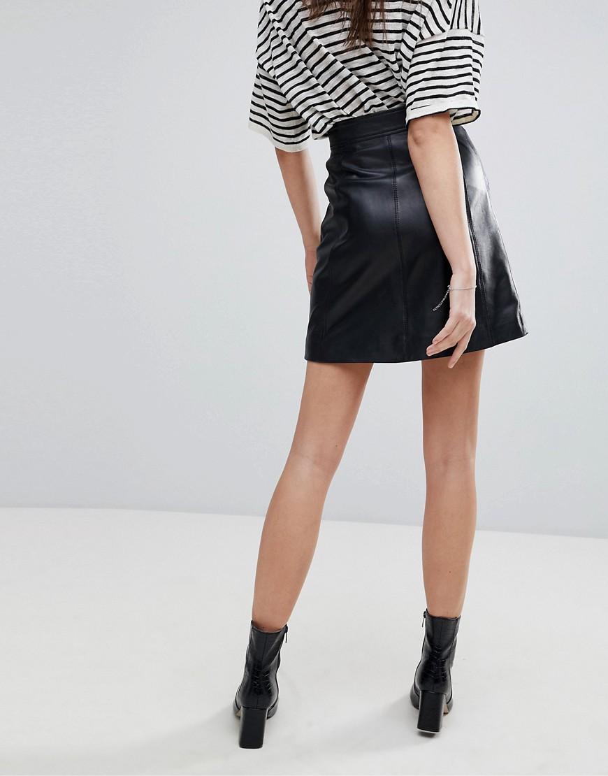 f0e552571ff Кожаная юбка с молнией Lab - Черный CL000019448203