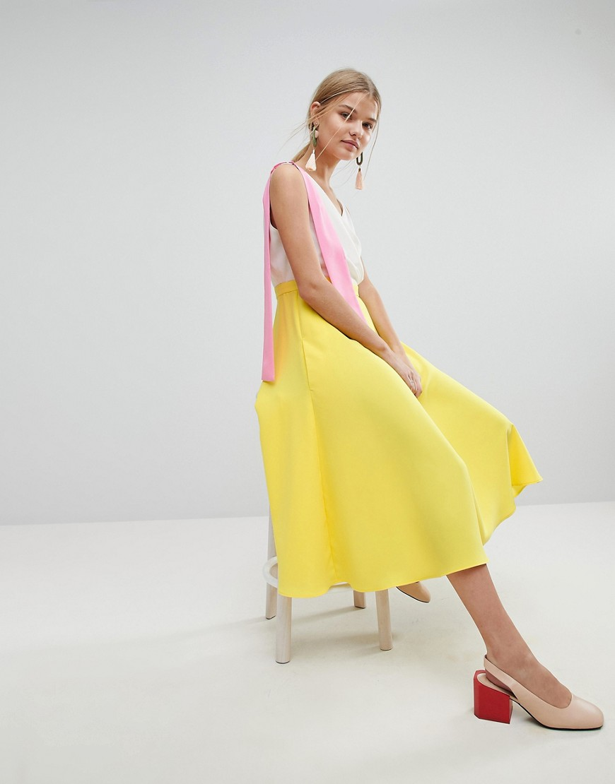 Max & Co. | Платье миди в стиле колор блок Max&Co - Желтый | Clouty