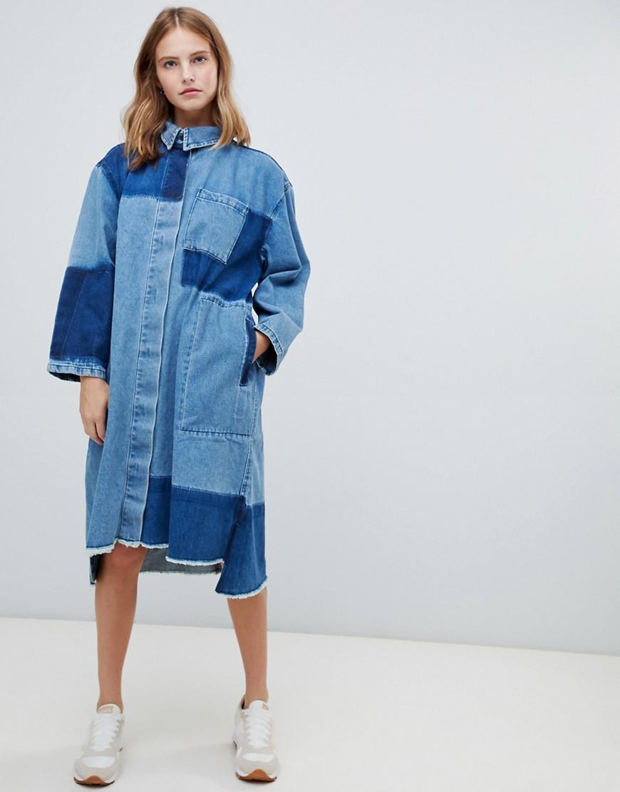 7d47553738b6fbd Wåven | Двухцветное джинсовое платье-рубашка миди Waven Sigvor - Синий |  Clouty ...
