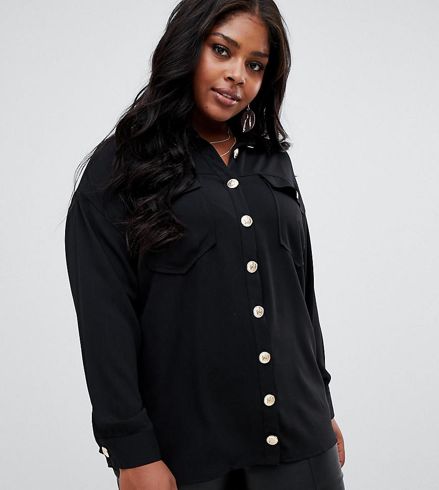 ASOS | Оversize-рубашка с длинными рукавами и винтажными пуговицами ASOS DESIGN Curve - Черный | Clouty