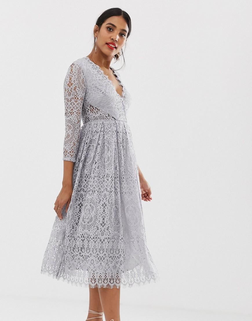 ASOS | Кружевное платье миди для выпускного с длинными рукавами ASOS DESIGN - Серый | Clouty