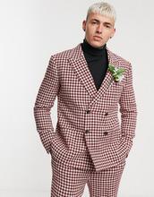 67971c3053d36 ASOS | Двубортный приталенный пиджак в ломаную клетку с добавлением шерсти  ASOS DESIGN wedding - Красный