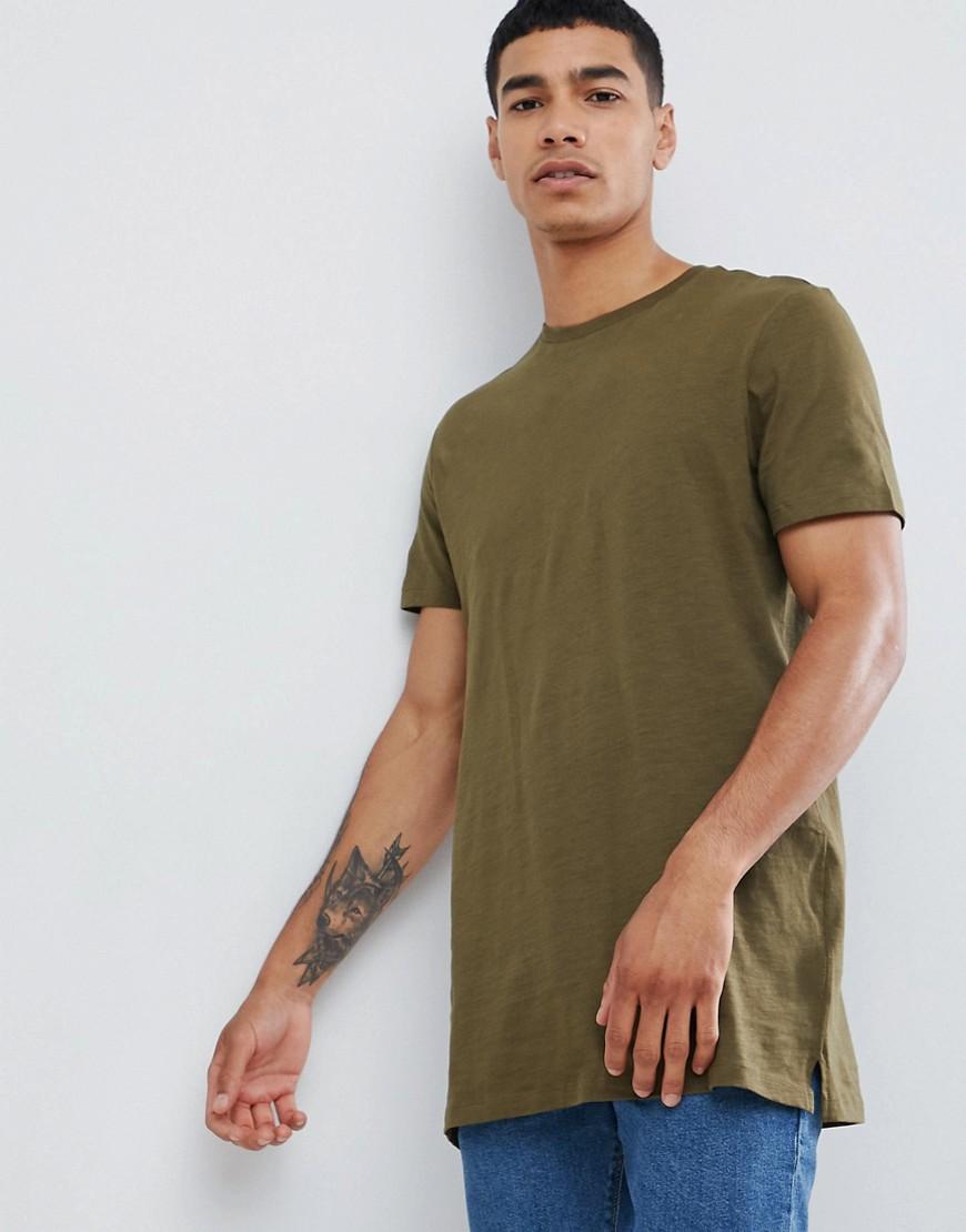 New Look | Удлиненная футболка цвета хаки New Look - Зеленый | Clouty