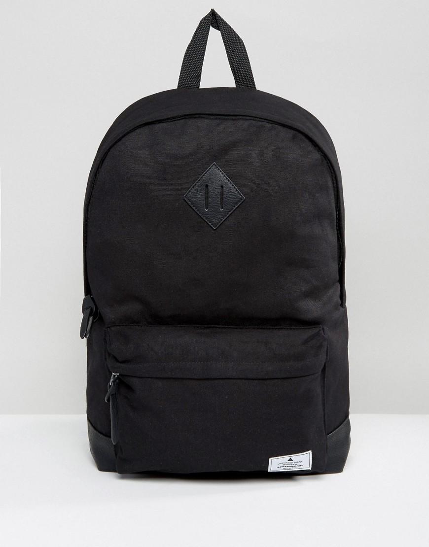 ASOS | Черный парусиновый рюкзак с основанием из искусственной кожи ASOS DESIGN - | Clouty