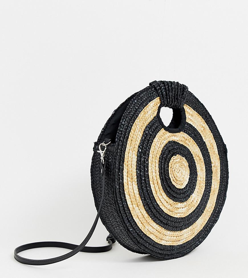South Beach | Эксклюзивная соломенная сумка через плечо круглой формы South Beach - Черный | Clouty
