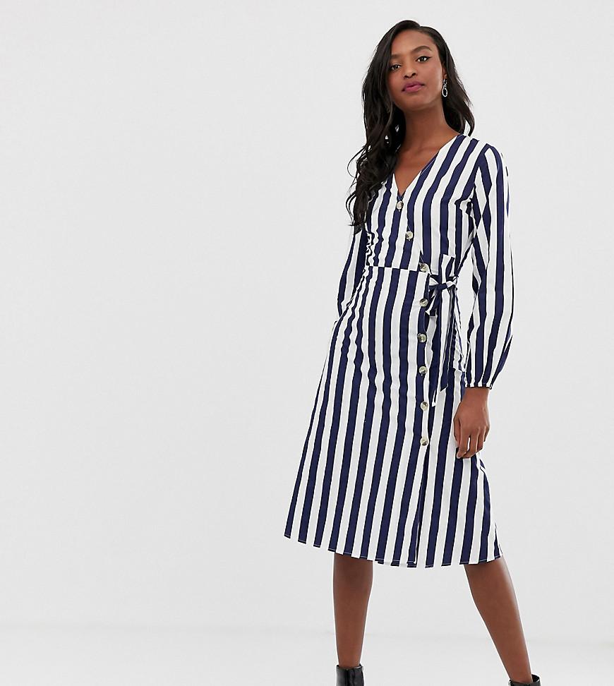 Influence | Платье миди в полоску с пуговицами Influence Tall - Синий | Clouty