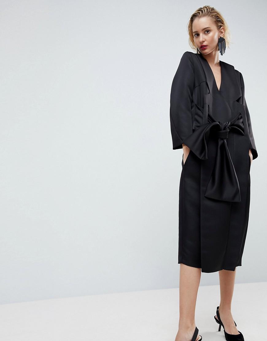 ASOS   Атласное платье-кимоно миди ASOS WHITE - Черный   Clouty