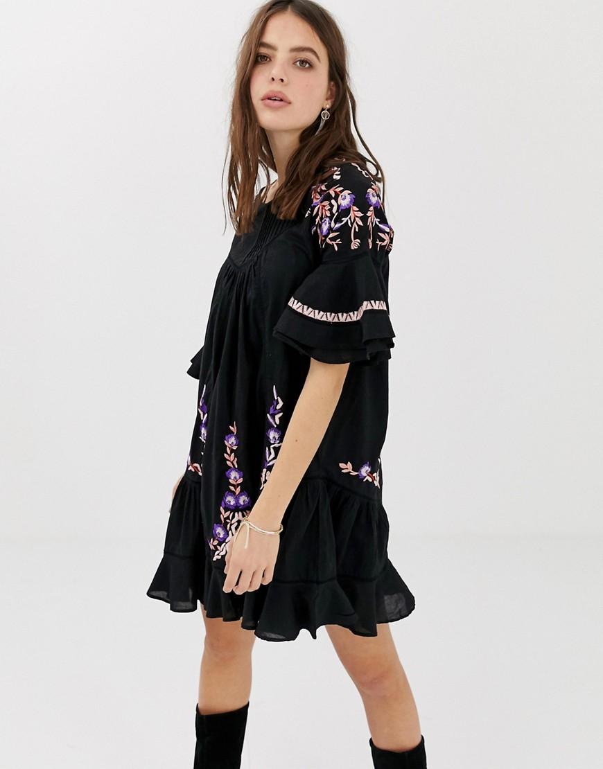 Free People | Платье-туника с вышивкой Free People Pavlo - Черный | Clouty