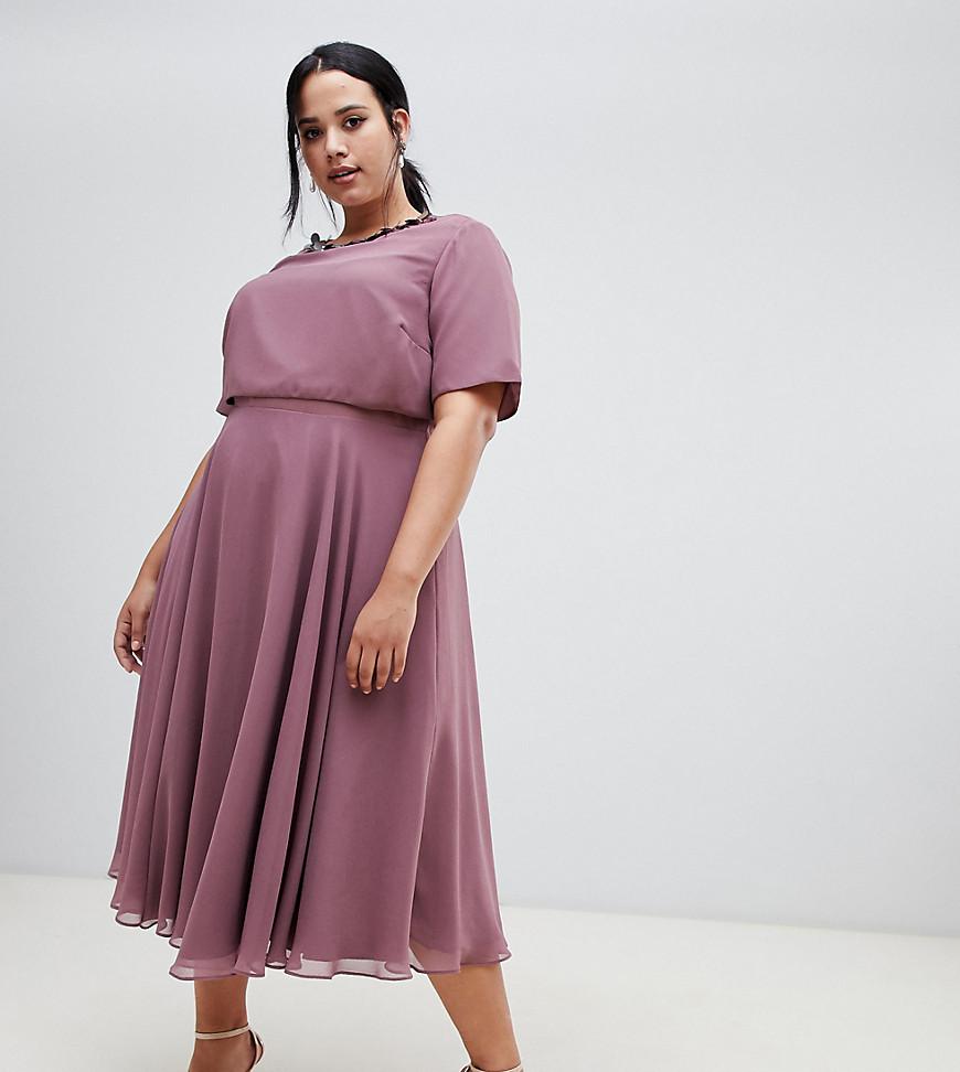 ASOS | Платье миди с 3D-отделкой у ворота ASOS DESIGN Curve - Фиолетовый | Clouty