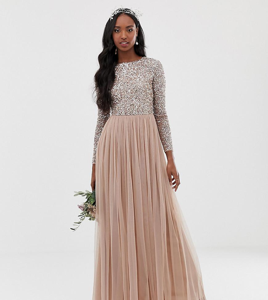 Maya | Светло-розовое платье макси из тюля с длинными рукавами и пайетками Maya Tall Bridesmaid - Коричневый | Clouty