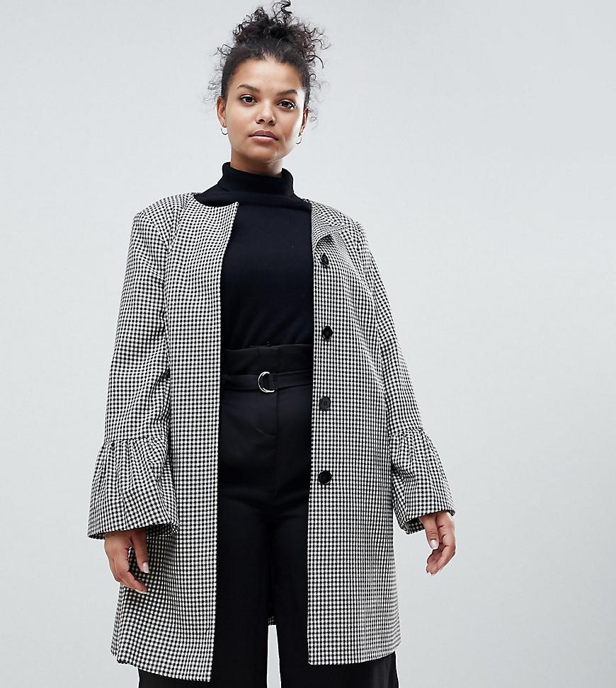 Helene Berman  London   Пальто без воротника с расклешенными рукавами Helene Berman Plus   Clouty