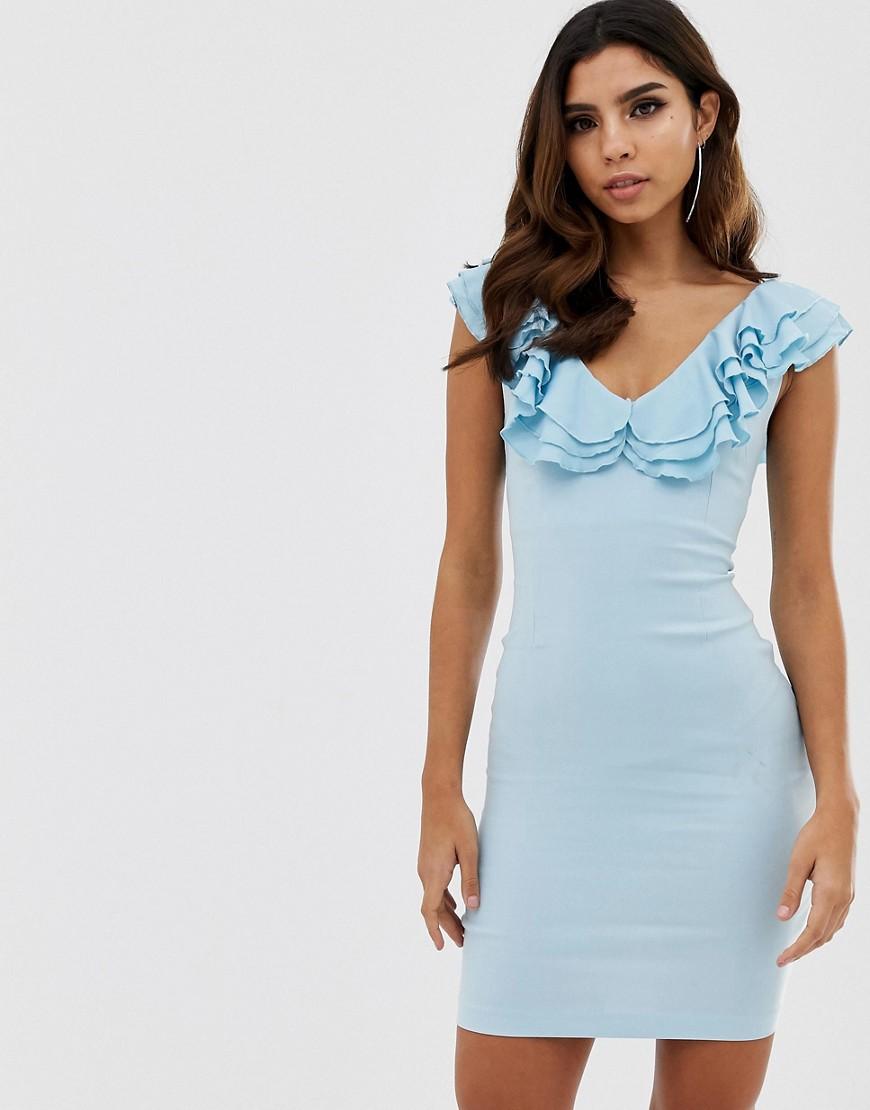 Vesper   Облегающее платье с V-образным вырезом и оборками Vesper - Синий   Clouty