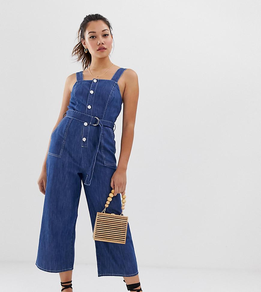 Miss Selfridge | Выбеленный джинсовый комбинезон-сарафан Miss Selfridge - Синий | Clouty