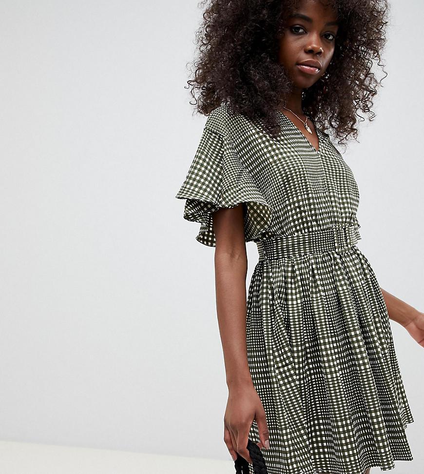 VERO MODA   Платье мини в клетку с поясом Vero Moda Petite - Мульти   Clouty