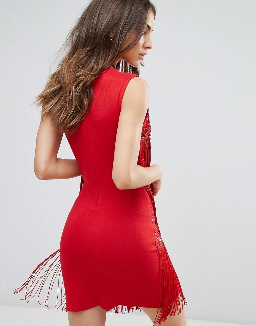 A Star Is Born | Свободное платье с отделкой и кисточками A Star Is Born - Красный | Clouty