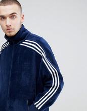 Свободная спортивная куртка из темно-синего велюра adidas Originals ad