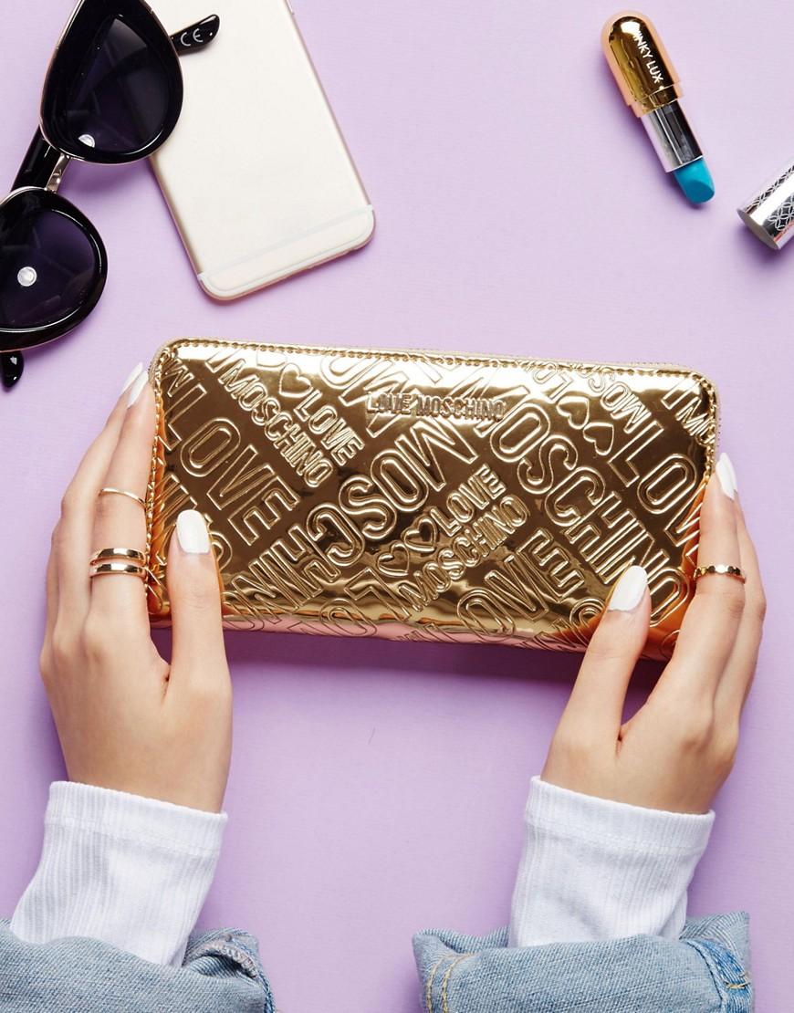 Love Moschino | Золотистый кошелек с логотипом Love Moschino - Золотой | Clouty