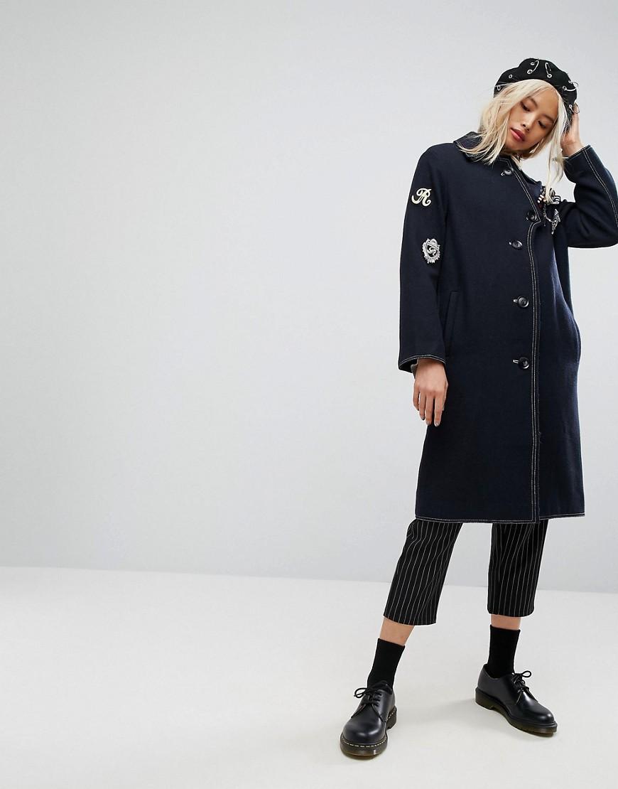 1e47b6dc9ca Пальто с нашивками в стиле милитари ASOS - Темно-синий ...