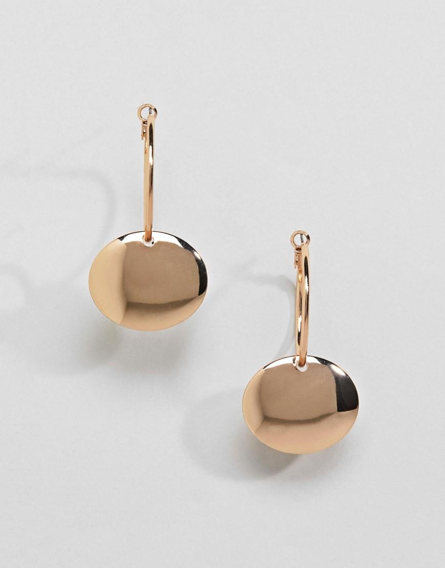 Monki | Серьги-кольца с подвесками Monki - Золотой | Clouty