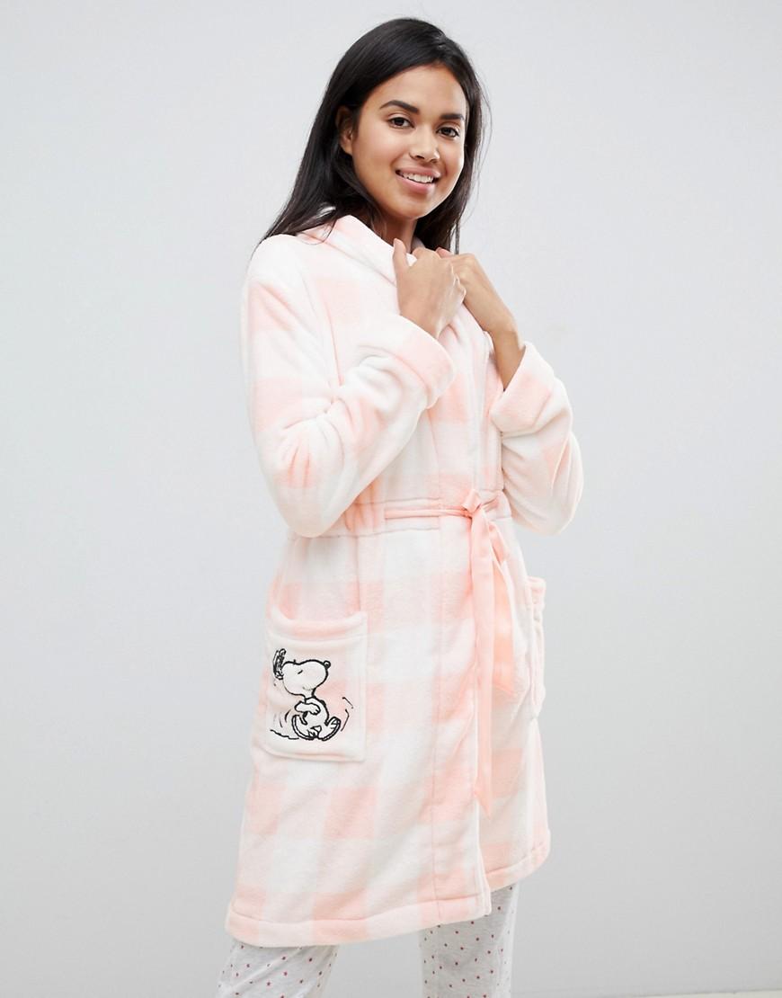 Women' Secret | Розовый пушистый халат в полоску с отделкой Snoopy Women'secret - | Clouty