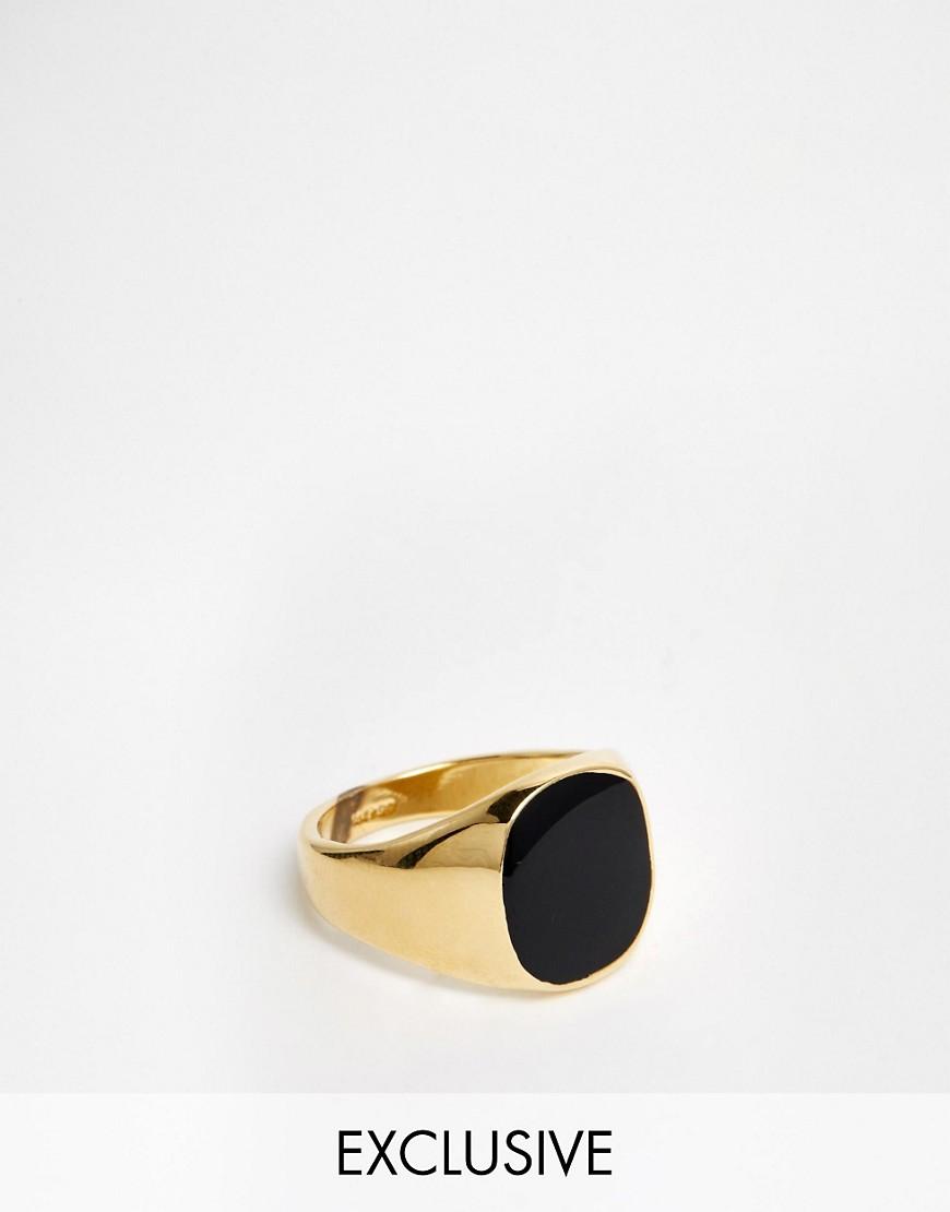 Reclaimed Vintage | Золотое кольцо с ониксом Reclaimed Vintage - Золотой | Clouty