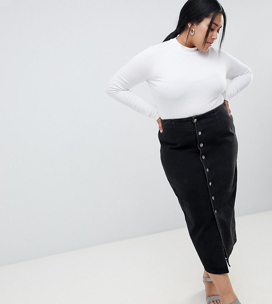 48eaaa7c57f Черная джинсовая юбка миди с пуговицами ASOS DESIGN Curve - Черный ...
