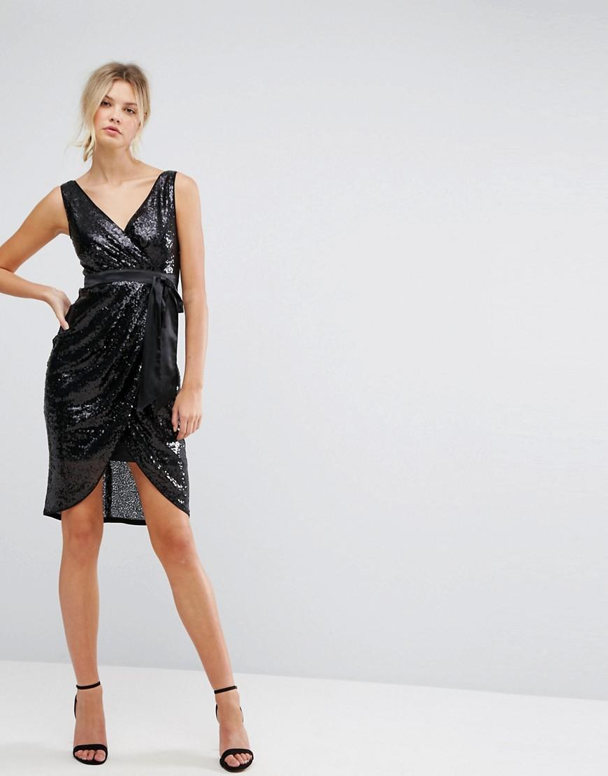 TFNC London | Платье миди с пайетками и атласным поясом TFNC Tall - Черный | Clouty