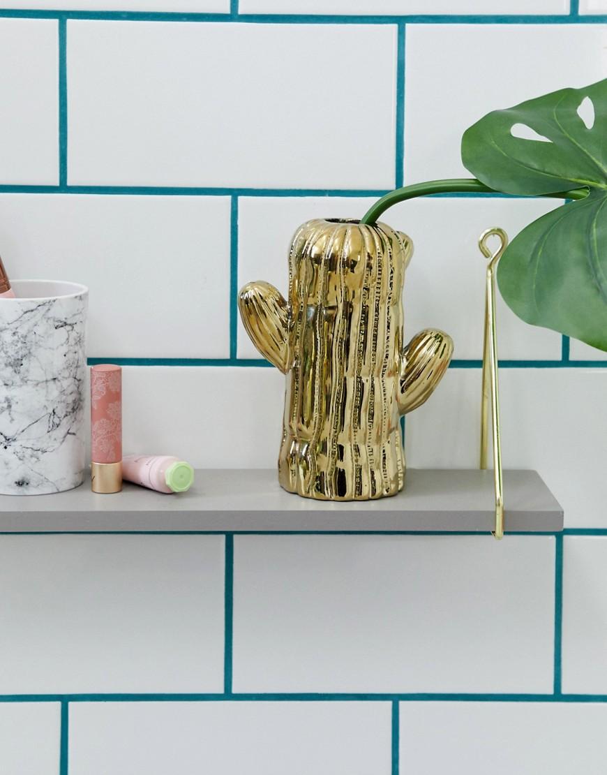 Temerity Jones   Маленькая золотистая ваза в виде кактуса Temerity Jones - Золотой   Clouty