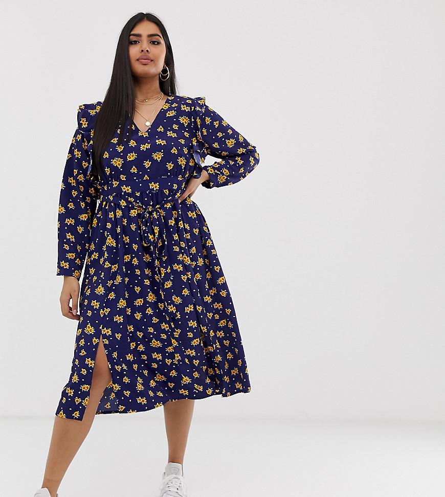Glamorous | Платье миди с рюшами на плечах и принтом подсолнухов Glamorous Curve - Темно-синий | Clouty