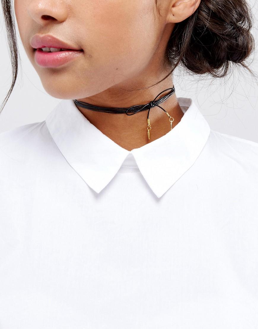 Vanessa Mooney | Кожаное ожерелье-чокер с позолоченными подвесками Vanessa Mooney - Черный | Clouty