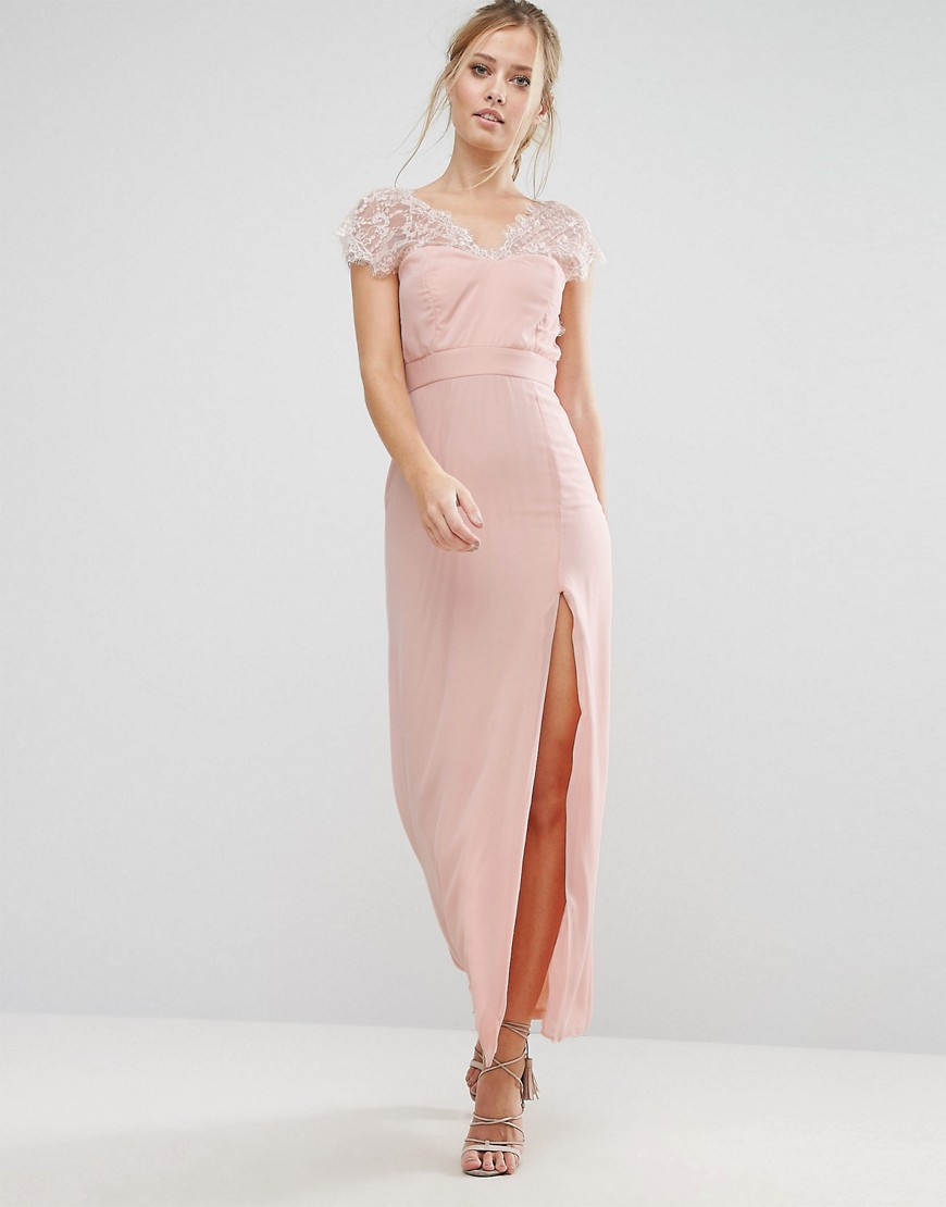 Elise Ryan | Кружевное платье макси с V-образным вырезом сзади Elise Ryan - Розовый | Clouty