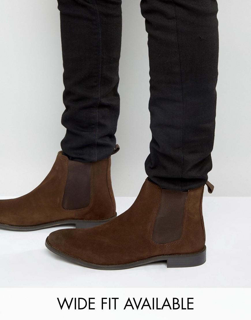 ASOS | Замшевые ботинки-челси ASOS - Доступна модель для широкой стопы - Коричневый | Clouty
