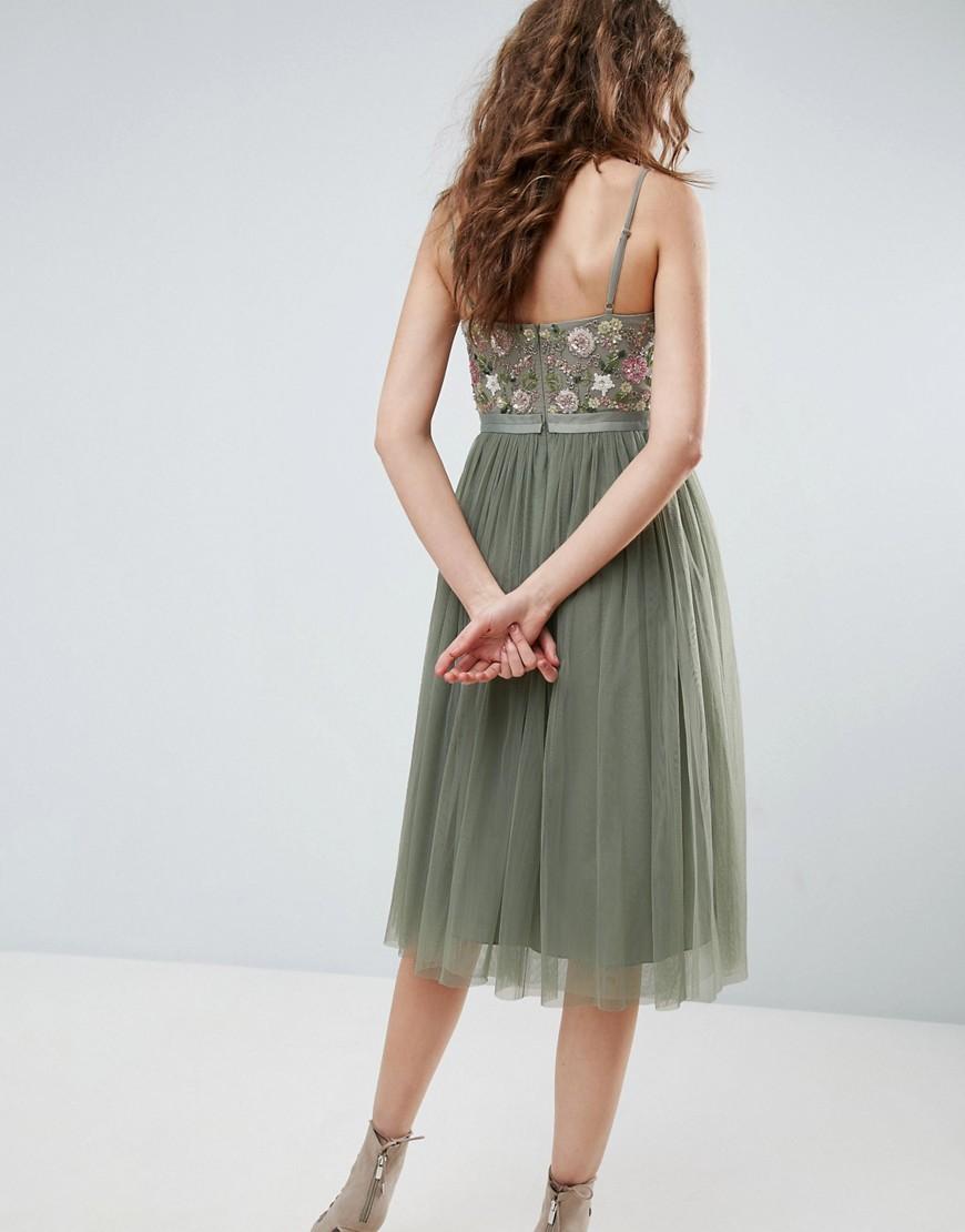 Needle & Thread | Зеленый Платье миди с тюлевой юбкой и вышивкой на лифе Needle and Thread | Clouty