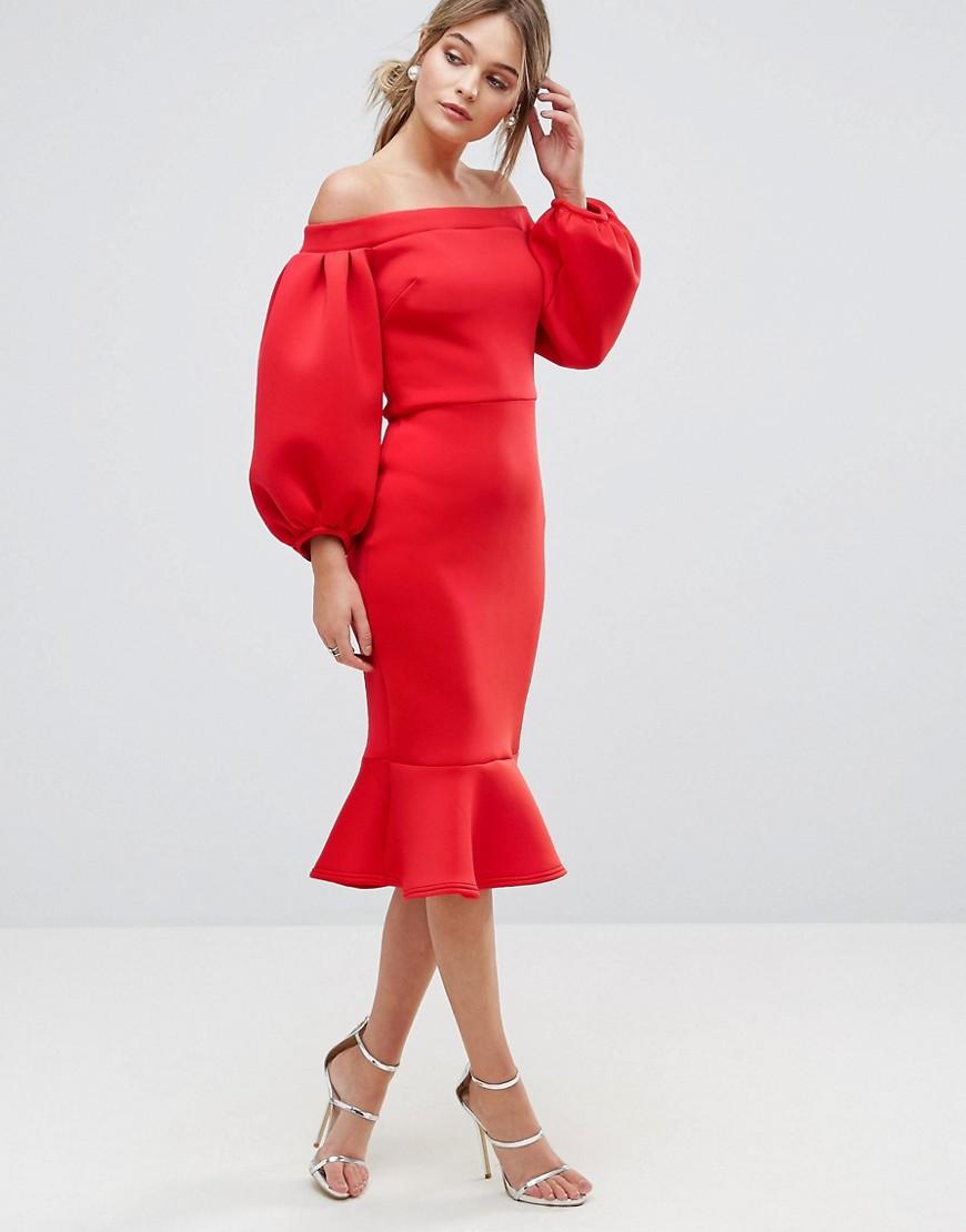 True Violet | Облегающее платье с рукавами-баллон True Violet - Красный | Clouty