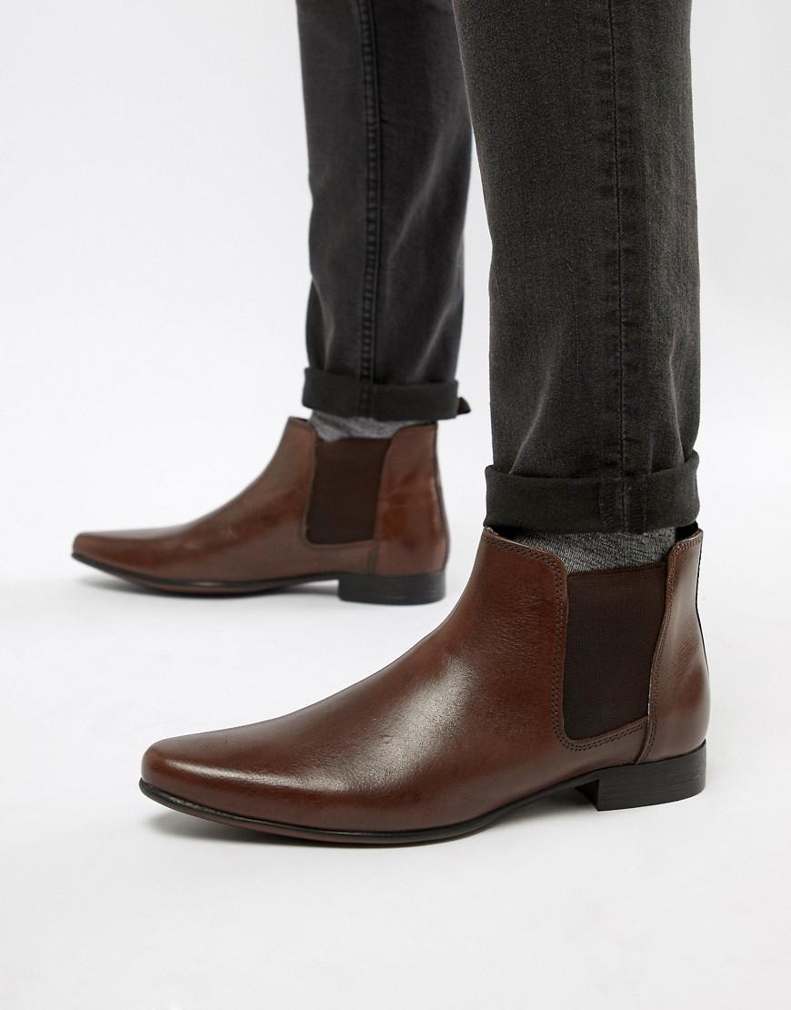 ASOS | Коричневые кожаные ботинки челси с петлей на заднике ASOS - Коричневый | Clouty