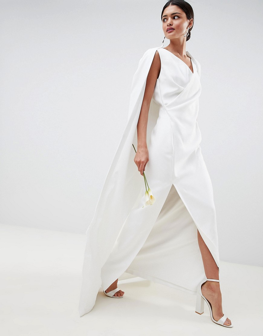 ASOS   Свадебное платье макси с кейпом ASOS EDITION - Белый   Clouty