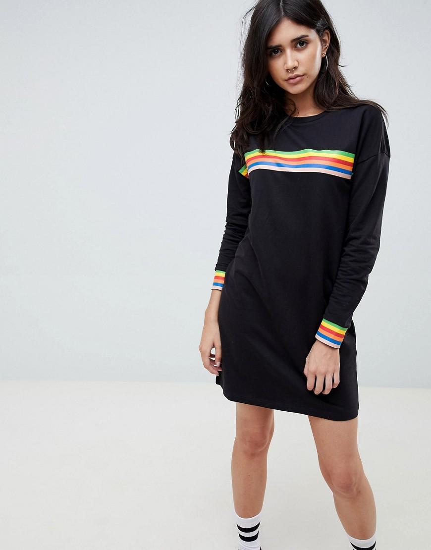 Noisy May | Трикотажное платье в разноцветную полоску Noisy May - Черный | Clouty