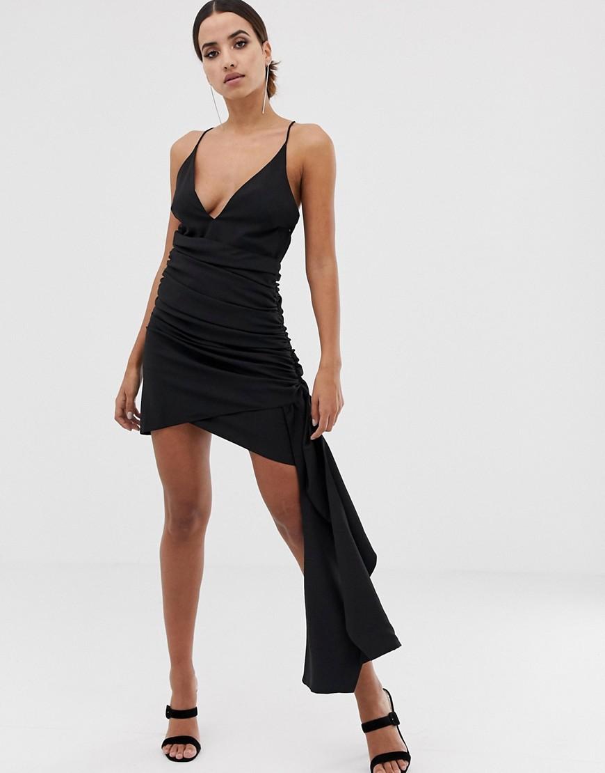 ASOS   Платье мини на бретельках с глубоким вырезом и драпировкой ASOS DESIGN - Черный   Clouty