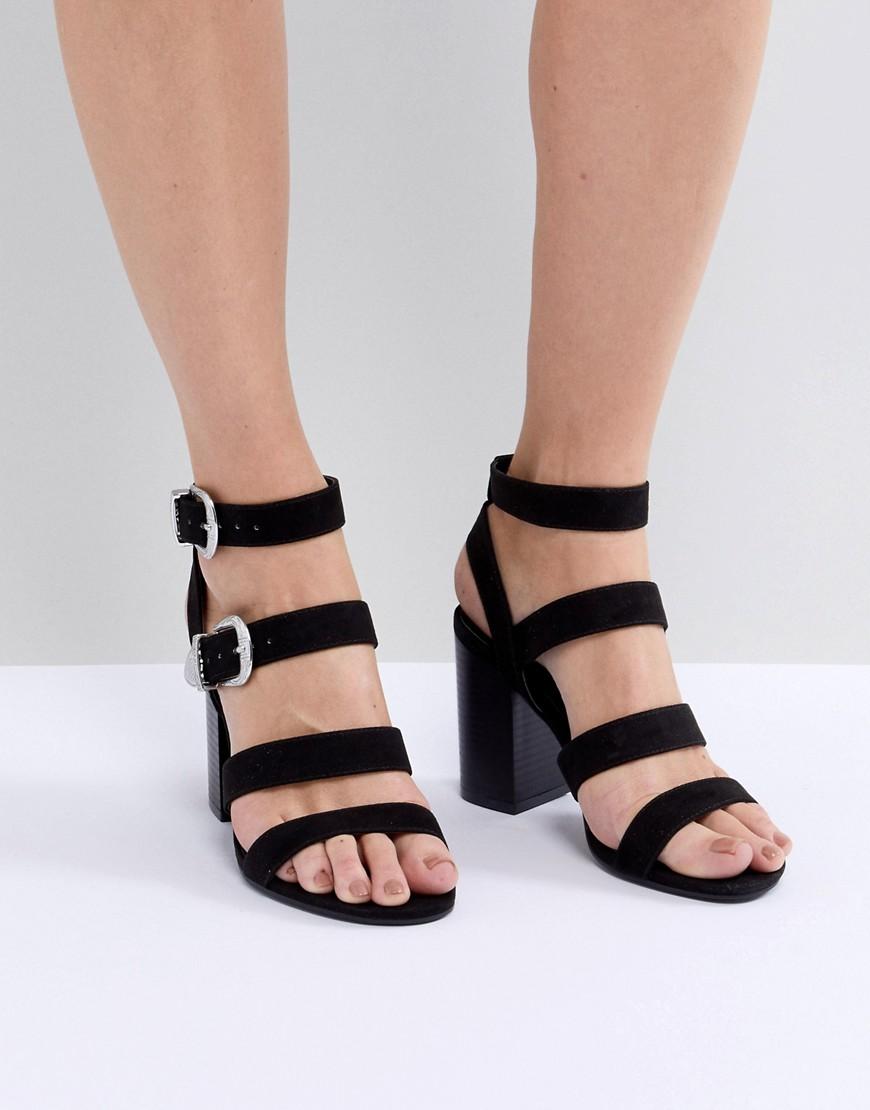 New Look | Босоножки на блочном каблуке с ремешками и пряжками в стиле вестерн New Look - Черный | Clouty