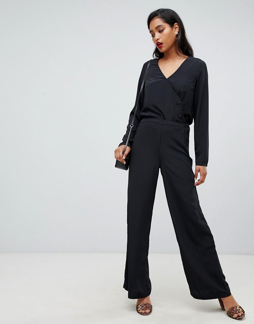 Vila | Широкие брюки с пуговицами Vila - Черный | Clouty